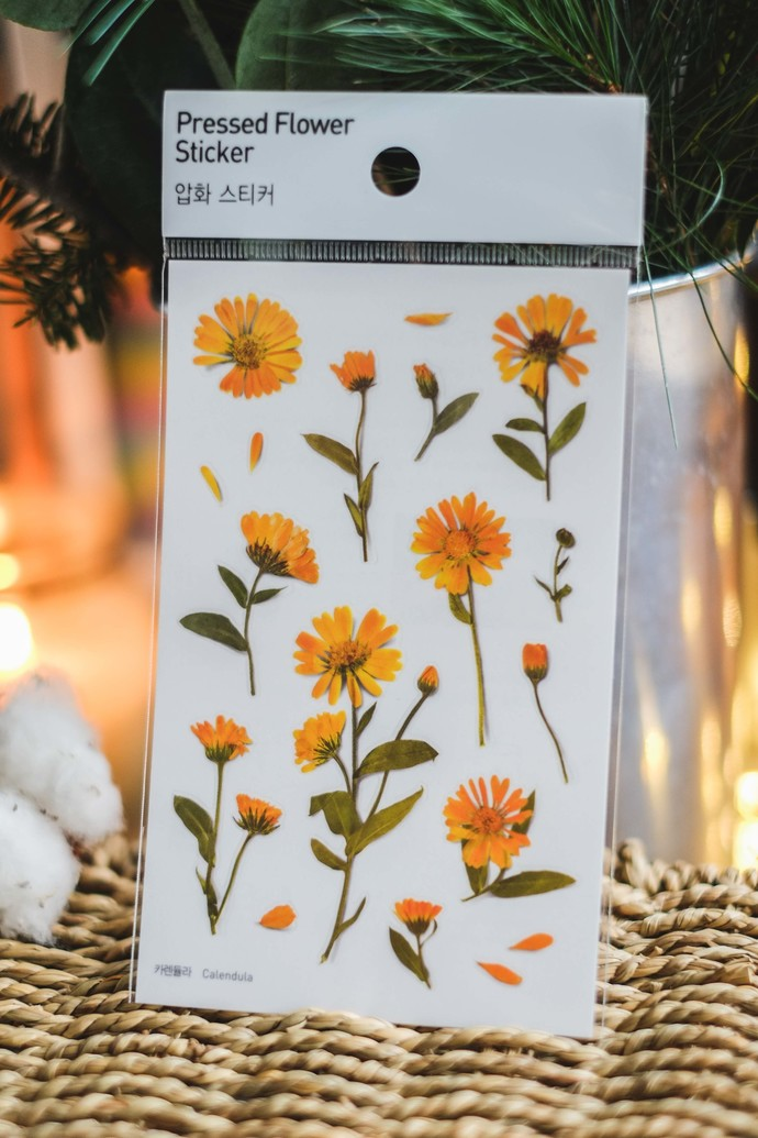 Appree Press Leaf Stickers - Calendula, see-through backing PET stickers