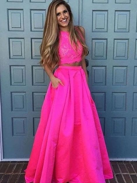Fashion A-Line/Princess Sleeveless Floor-Length Scoop Lace Satin Two Prom dress