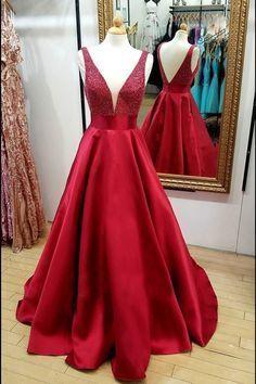 Burgundy Satin V Neck Long Sequins A Line Prom Dress