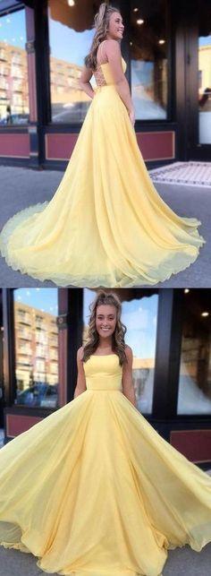 Yellow Long Prom Dresses, Chiffon Prom Dresses