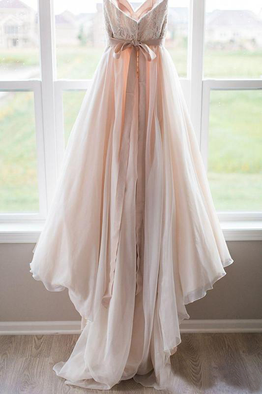 Pink Lace Top Wedding Dresses Sweetheart Backless Bow Sash Boho Wedding Gowns