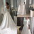 2020 Boat Neck Long Sleeves Covered Button Back Sweep Train Stain Wedding