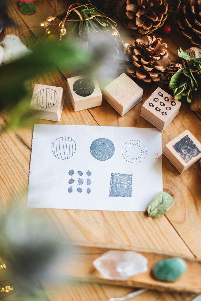 London Gifties original design wooden stamp set - Abstract Geometric Shapes - 5