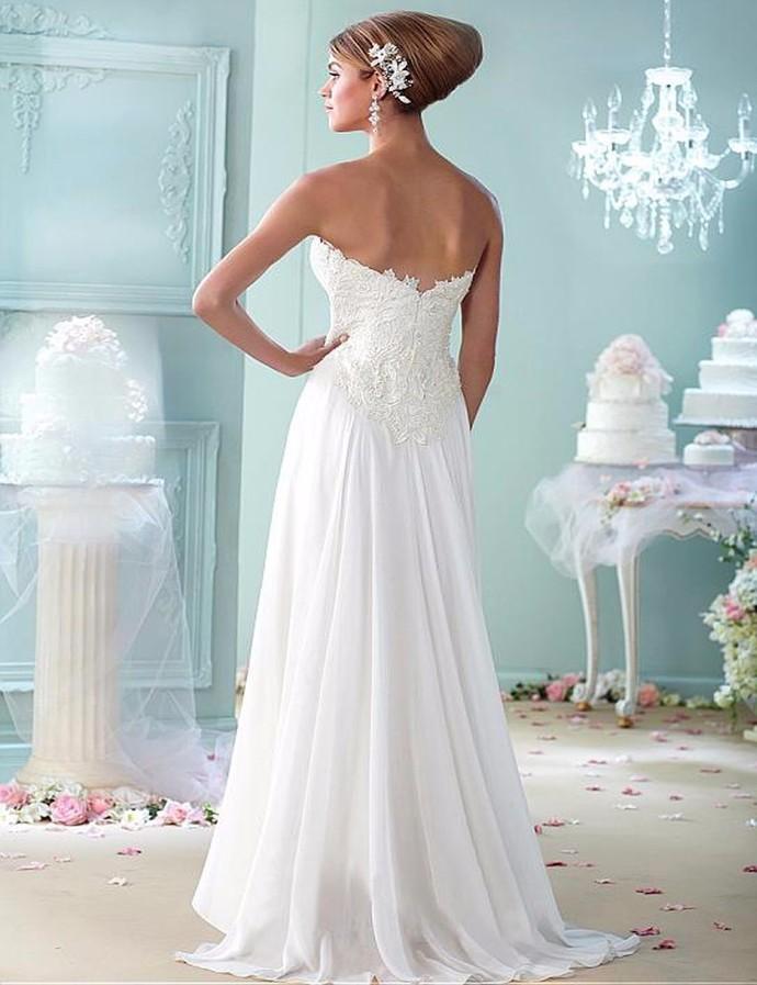 2020 White Wedding Dresses Women Beach Chiffon with Lace Applique Plus Size