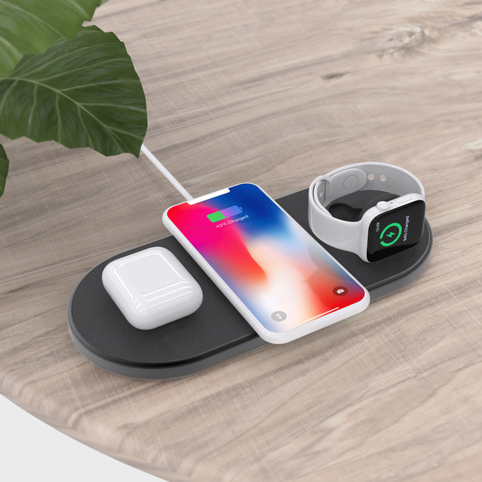 Qi Charger - 3 in 1 Wireless Charging Pad With 30 Watts EU Plug Adapter