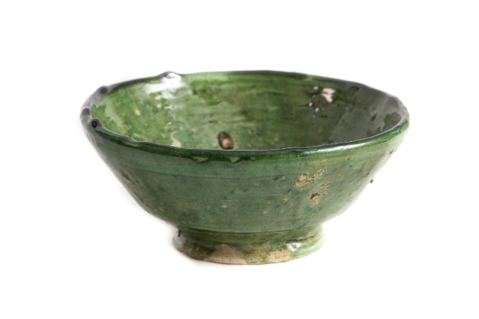 Unique Elegant Handcrafted BOL MOYEN Tamegroute Green Glazed Pottery
