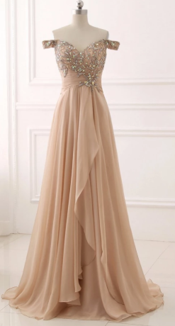 Chiffon Sweetheart Off Shoulder Beaded Pleated Long Prom Dresses