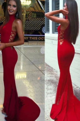 High Neck Red Mermaid Prom Dress,Long Sexy Evening Party Gown