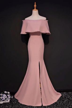 Elegant Trumpet Mermaid Off-the-shoulder Floor Length Pink Prom Dress