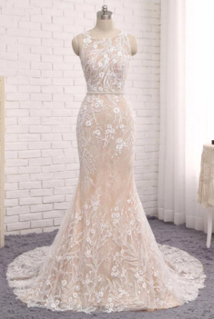 Unique Mermaid White Sleeveless Prom Dress,Lace Long Sweep Train Wedding Dress