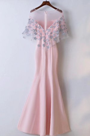 Elegant Pink Round Neck Short Sleeve Satin Lace Applique Long Prom Dress