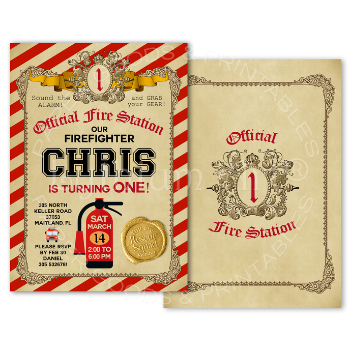 Firefighter Invitation, Printable Invite, Fire Engine Invitations, Vintage Fire
