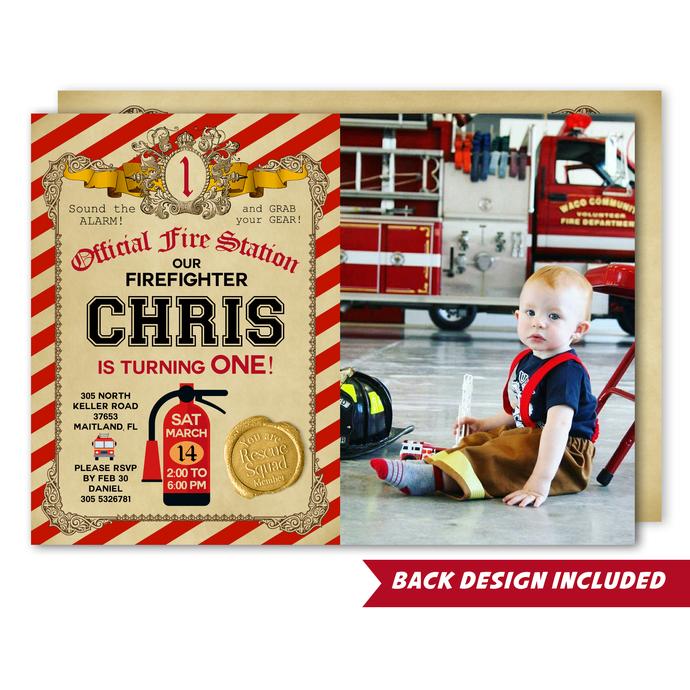 Firefighter Photo Invitation, Printable Invite, Fireman Invitation, Fire Station