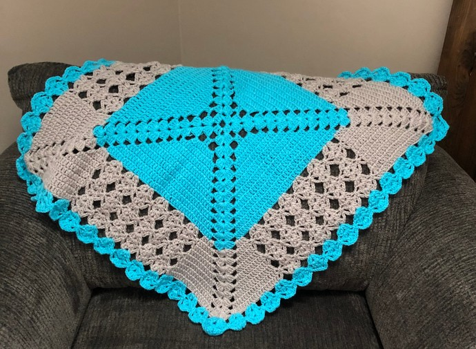 Blue and Grey lacy crochet baby afghan., lacy afghan, Unisex baby afghan, FREE