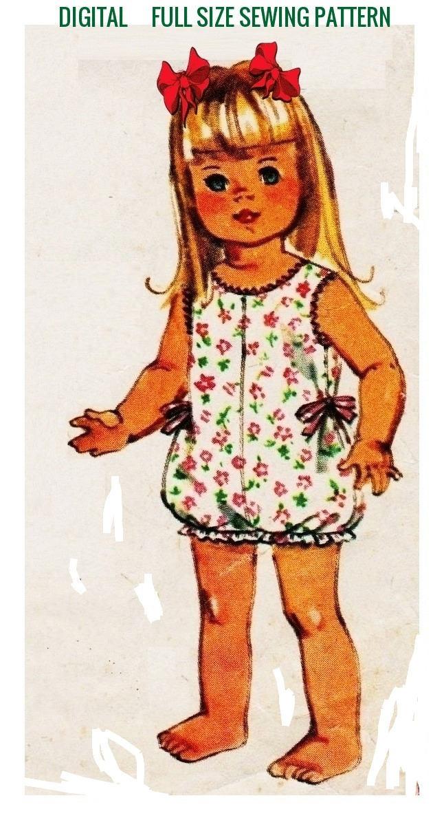 Instant PDF Digital Download  Vintage Full Size Sewing Pattern Dolls Clothes