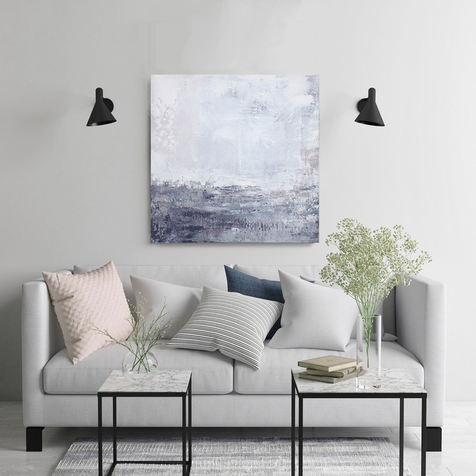 wall art abstract, Abstract Art Print ,square lilac gray white wall art , purple