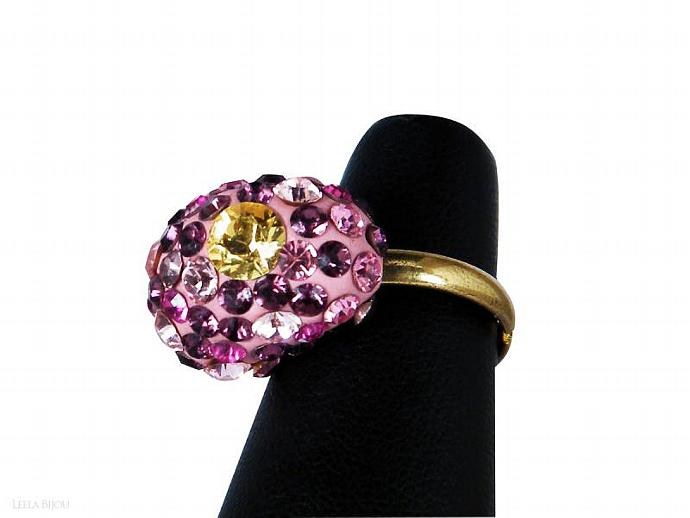 Pink Purple Yellow Ring Swarovski Crystal Gold Plated