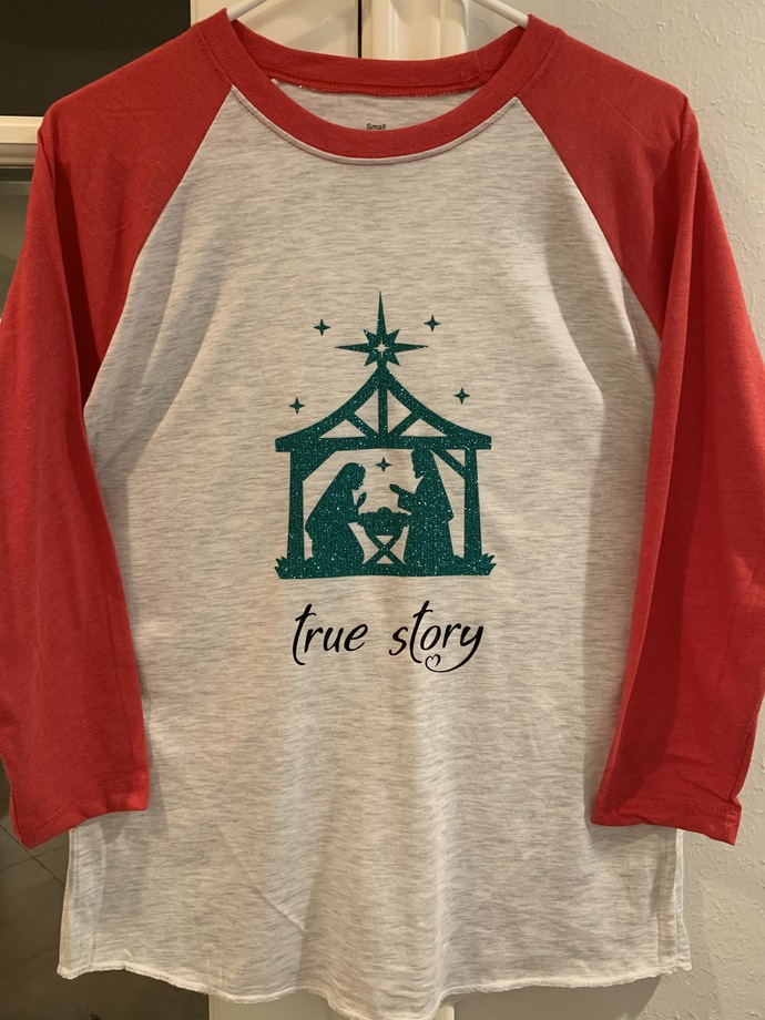 """""""True Story"""" Christmas Top with Emerald Green Glittered Nativity"""