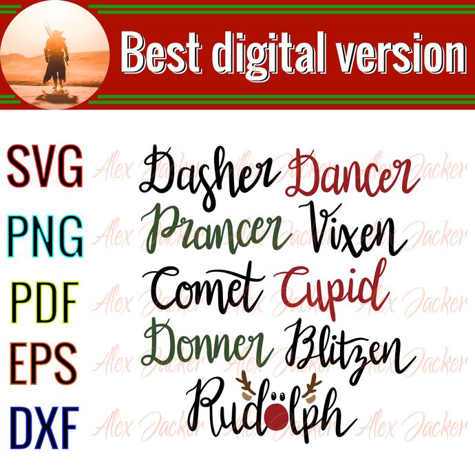 Dasher dancer, prancer vixen comet...christmas, Santan gift, jingle bell song,