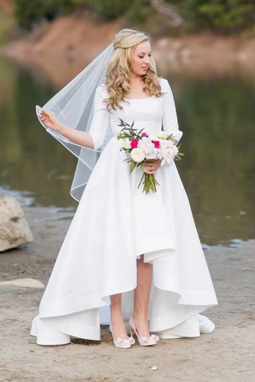 Vintage Country High Low Wedding Dresses 2019 Spring Half Sleeve Garden Bohemian