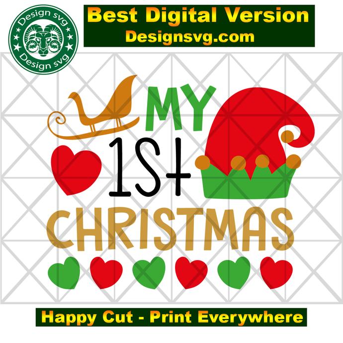 My 1st christmas, first christmas svg, sleigh svg, elf svg, elf gift, elf