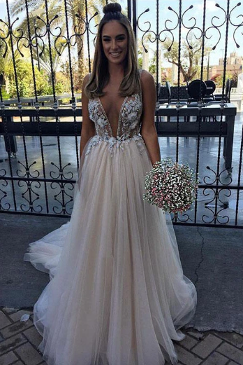 Sexy V Neck Tulle Long Prom Dress,Cheap Evening Dress