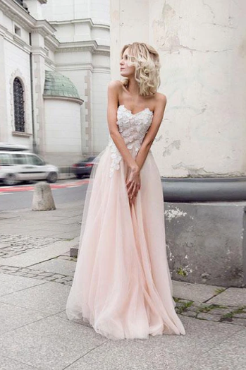 Copy of Beautiful A-Line Sweetheart Strapless Tulle Pearl Pink Long Prom Dress