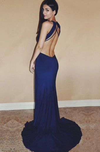 Sexy Royal Blue Chiffon Sweep Train Split Front Long Prom Dresses