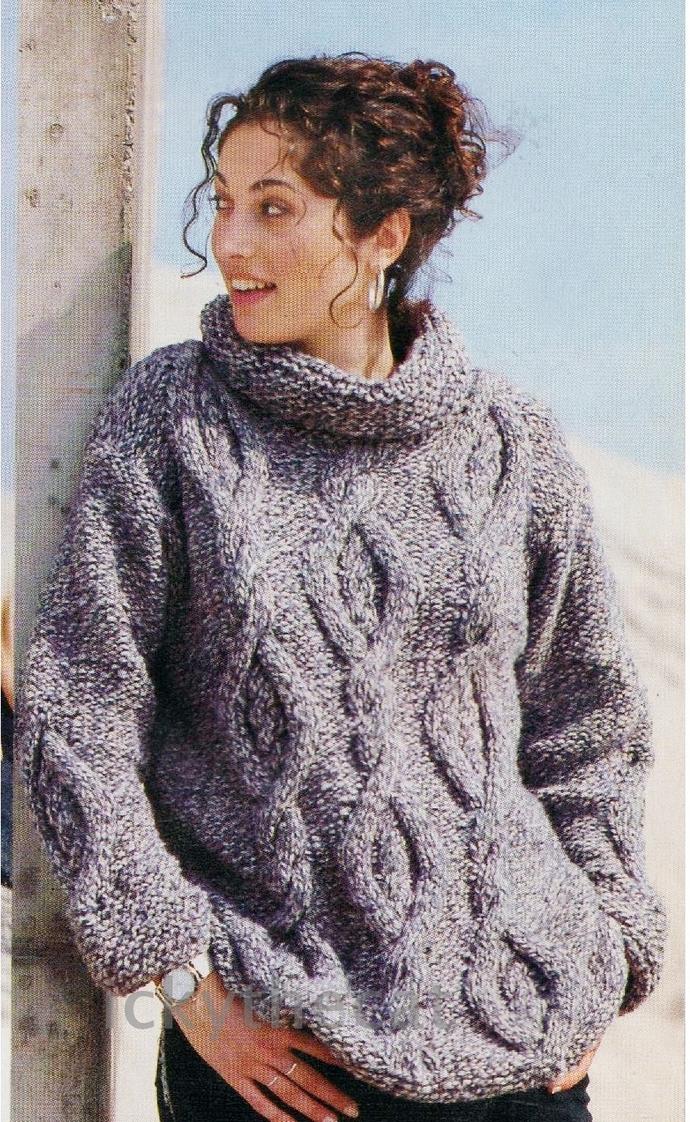 PDF Digital Download Vintage Knitting Pattern Ladies Women's Aran Style Bulky