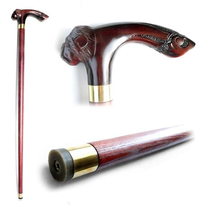 "Wood Cane ""MONKEY"", Handmade Wooden Stick"