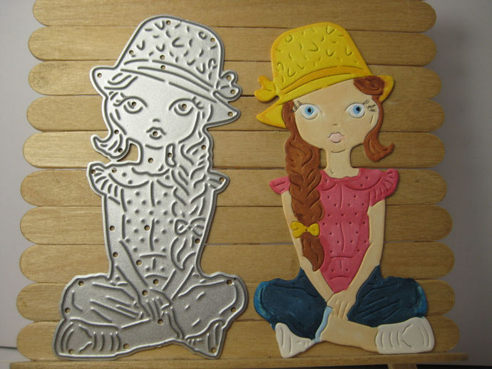 Girl Sitting Cutting Die wearing Jeans and Hat Tattered Lace