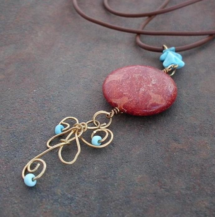 Red Sponge Coral Wire Wrapped Turquoise Pendant Necklace