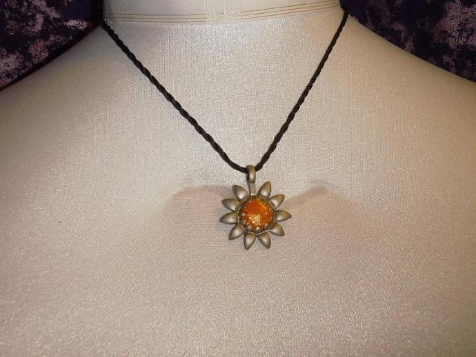 Glorious Pewter Sunflower necklace with polymer clay center