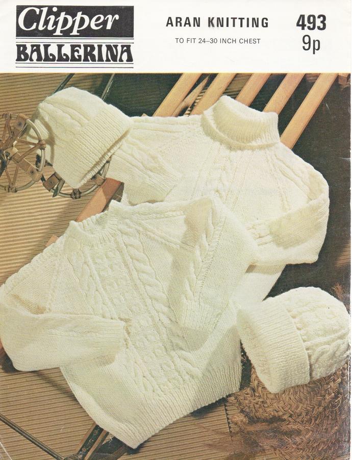 Instant PDF Digital Download Vintage Clipper Knitting Pattern Child's 2 Aran