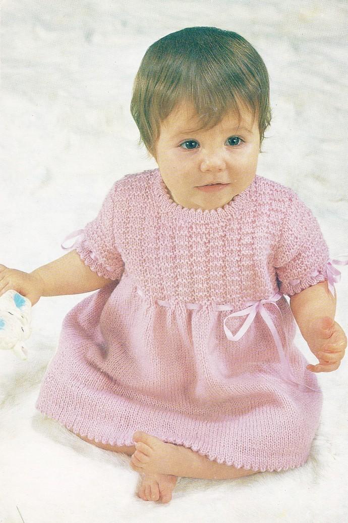 Instant PDF Digital Download Emu Vintage Knitting Pattern Baby Dress Knickers