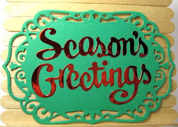 Season's Greetings Metal Cutting Die Holiday Word Die Cuts