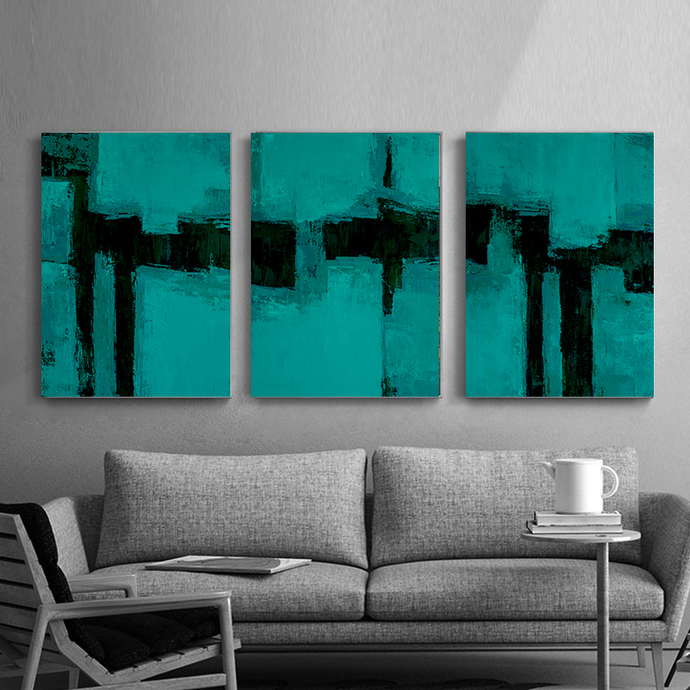 Downloadable print, Contemporary set Wall Art, Modern Art large , Blue set of 3,