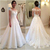 Romantic 2020 Scoop Lace Applique Cap Short Sleeve Wedding Dresses Tulle Button