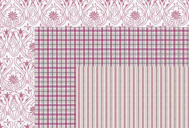 Torino Trio - Damson, Plum, Pink - 100% cotton stripes, checks, floral - Bunting