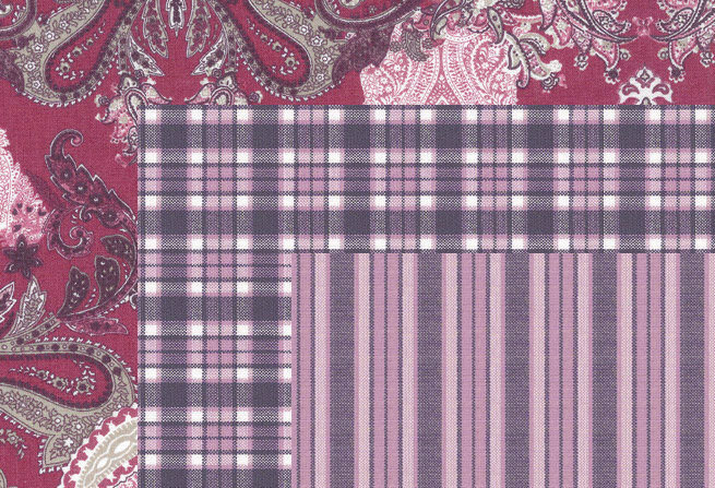 Torino Trio N° 2 - Damson, Plum, Pink - 100% cotton stripes, checks, floral -