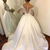Sheer Neck Lace Top Wedding Dresses With Long Sleeves Button Back Satin Bridal