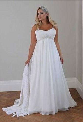 Plus Size Casual Beach Wedding Dresses 2020 Spaghetti Straps Beaded Chiffon