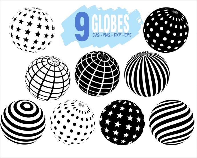 Globe SVG Bundle / Globe SVG File / Globe Clipart Cut File / Globe Clipart /