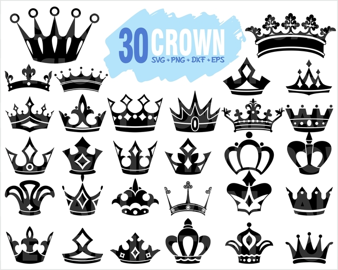 30 Crown SVG Bundle | Crown SVG File | Crown Cut File | Crown silhouette |