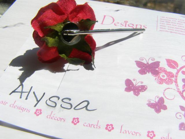 Sweet Red Rose Bobby Pin Alyssa