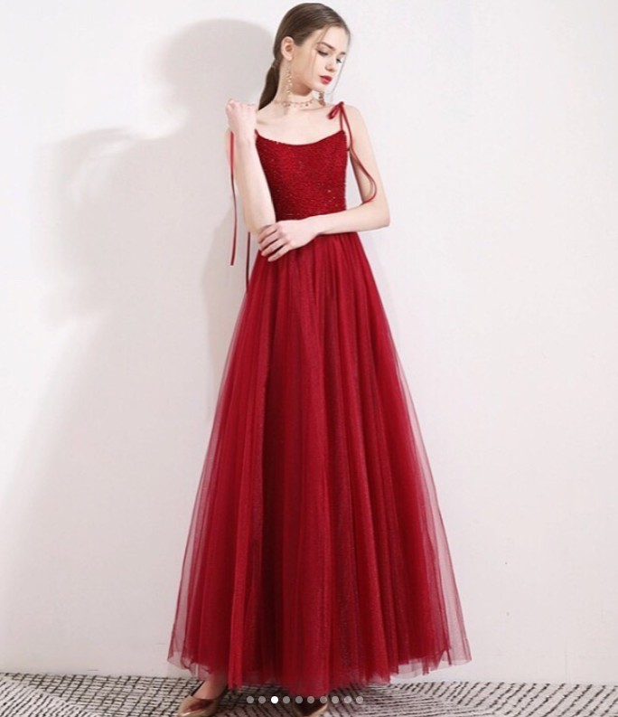 Red Prom Dress,Tulle Prom Gown,A-Line Evening Dress,Spaghetti Straps Prom Gown
