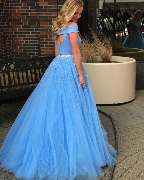Blue Prom Dress,Two Pieces Prom Gown,Beading Evening Dress,Tulle Prom Gown 0101