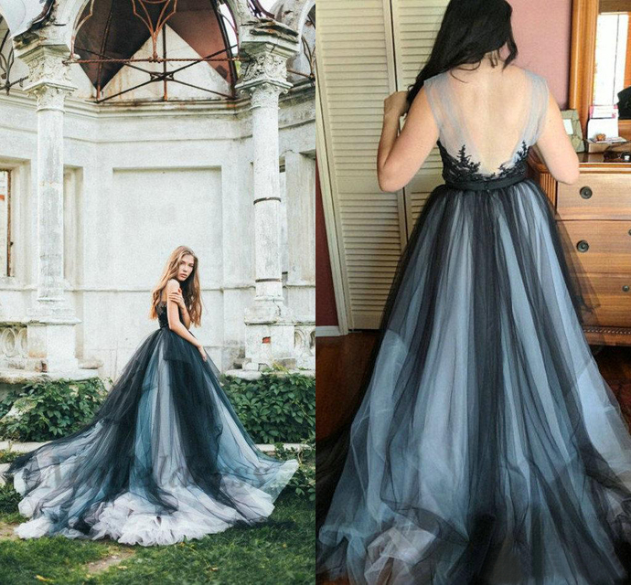 Gothic Wedding Dresses Colorful Tulle Black Navy Open Back Lace Appliques Sheer