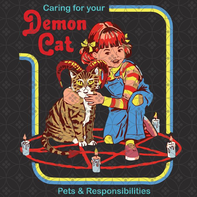 Caring for your demon cat, cat svg, cat gift, cat shirt, black cat svg, demon