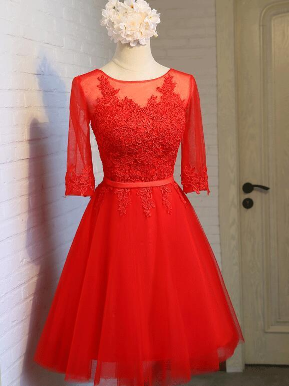 Adorable Red Tulle Short Party Dress, Red Bridesmaid Dress 2020